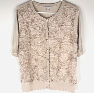 New York and Co Cardigan Short Sleeve Floral Large